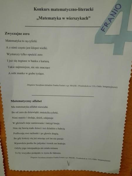 Konkurs Matematyka W Wierszykach Przedszkole Nr 118 Z